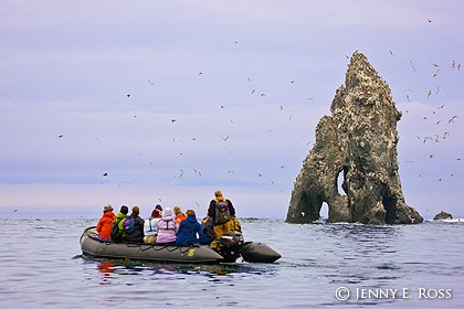 Ecotourists at seabird colony, Bering Sea