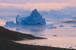 Icebergs and autumn tundra at sunset, Hurry Inlet